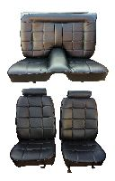 1974, 1975, 1976, 1977 Ford Mustang Front Bucket and Rear Bench Seat; Square Pattern, High End Seat Upholstery Complete Set
