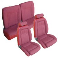 1990, 1991 Ford Mustang Front Bucket with Leg Lumbar; Split Rear Bench; Hatchback; Sport Model Seat Upholstery Complete Set