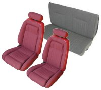 1990, 1991 Ford Mustang Front Bucket with Leg Lumbar; Rear Bench; Convertible; Sport Model Seat Upholstery Complete Set
