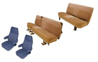 1981-1991 GMC Yukon XL, Suburban Front Buckets; Middle Row Split Bench (with Carpeted Back); Rear Bench; Silverado Style Seat Upholstery Complete Set